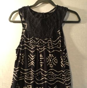 Lucky Brand navy blue white print s/l top S